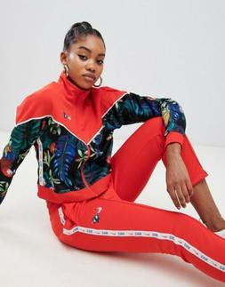 Nike 2 Piece Hyper Femme Red Tropical Floral Crop Track Suit