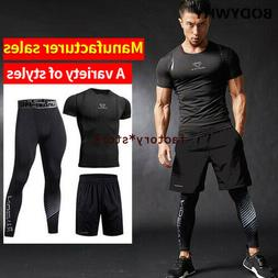 3Pcs/Set Men's Tracksuit Gym Fitness Compression Sports Suit