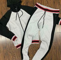 Fleece Sweat Suit BIG & TALL Tracksuit Jogger Jacket Hooded