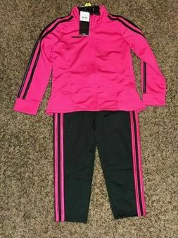 Adidas Girls Tricot Jacket and Pants Track Suit Set  Magenta