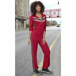 K. Jordan Women's Striped Tracksuit In Red/Black/White - 1X