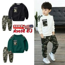 Kids Boys Letter Tracksuit Camouflage Long Sleeve Teen Tops