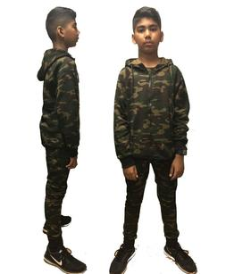 KIDS CAMOUFLAGE BOYS GIRLS TRACKSUIT ZIPPED TOP BOTTOM KIDS