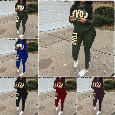 2pc women long sleeve letter print casual