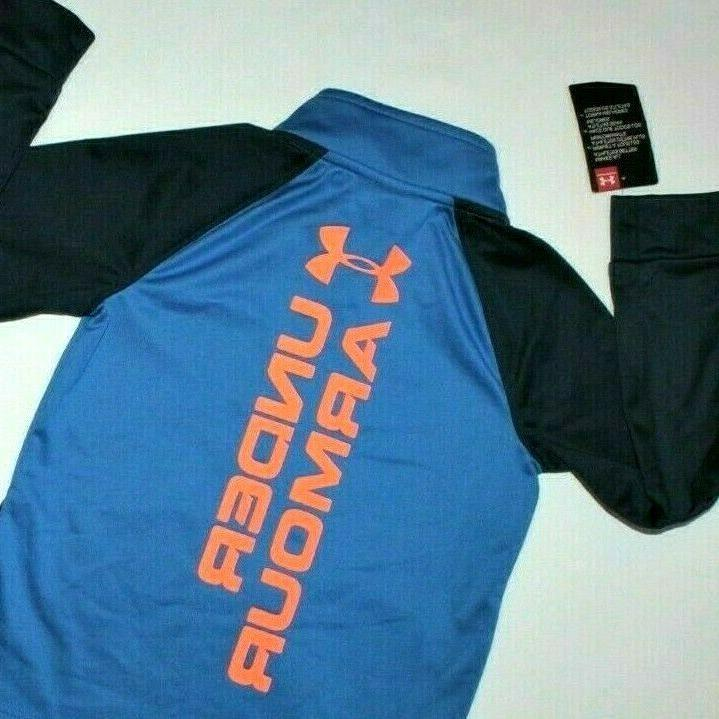 BOYS UNDER ARMOUR TRACKSUIT..FULL ZIP/POCKETS/SOFT LINING..BLUE/ORANGE..NEW/TAGS