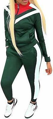 Womens Color Block Tracksuit 2 Piece Outfits, Casual Long Sl