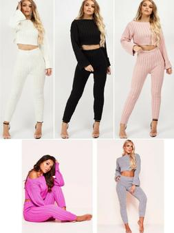 LoungeWear Tracksuit Ribbed Knitted Crop Top & Bottom Casual