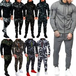 Men Fleece Tracksuits Suit Hoodie Top+Bottoms Joggers Pants