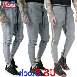 Men Plaid Slim Fit Casual Pants Jogging High Waist Long Trou
