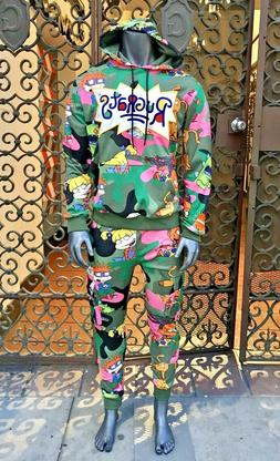 Men's Green | Pink Multicolor Rugrats Tracksuit