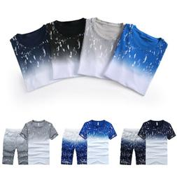 Men's Set Tracksuit Sports Gym Fitness T-shirts Clothes Runn