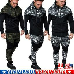Men Tracksuit Jogging Top Bottom Camo Sweat Suit Hoodie Trou