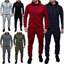 Men Tracksuit Jogging Top Bottom Sport Sweat Suit Hoodie Tro
