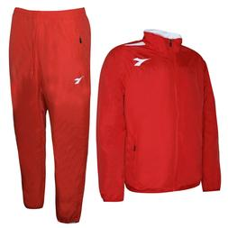 Diadora Mens Sweat Suit Tracksuit Top Joggers Red Pants Fitn