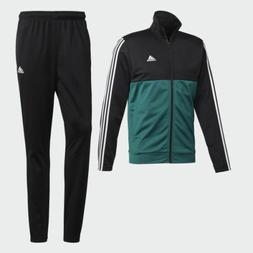 Adidas mens Track suit 3 stripes black green white jacket an