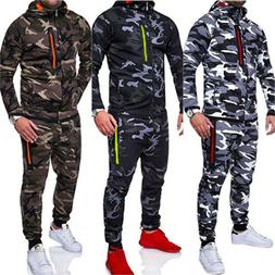 Mens Tracksuit Set Camouflage Hoodie Top Bottoms Jogger Gym