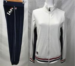 New FILA Womens Heritage Velour Tracksuit Jacket Pants Set W