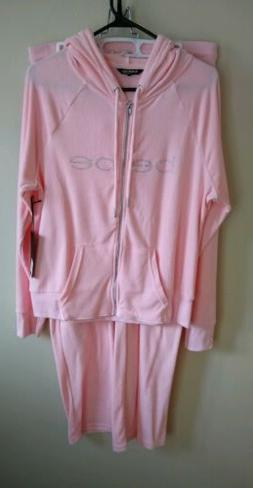 NWT Bebe Terry Tracksuit Large Pink Free Shipping