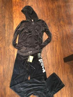 NWT Juicy Couture Gray Velour Flower Logo Tracksuit Set Hood