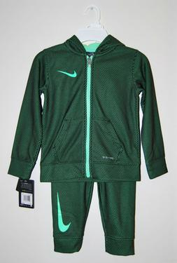 NWT Nike Little Boys Green & Black 2pc LS Hooded Track Suit