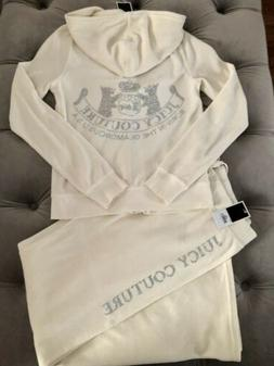 NWT Juicy Couture Tracksuit M TOP L BOTTOM Cream Scottie Dog