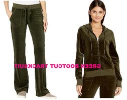 NWT Juicy Couture Tracksuit Velour Jacket Bootcut Pants BLAC