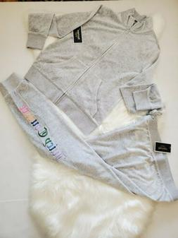 NWT Women's Juicy Couture Tracksuit Gray Velour Rainbow Logo