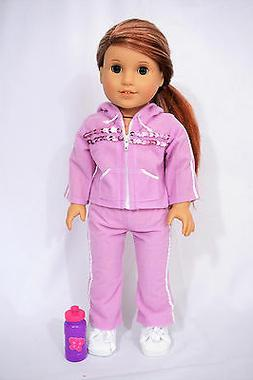 """purple tracksuit outfit fit 18"""" and american girl dolls"""