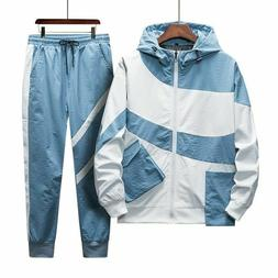 Sports Tracksuit Hooded Tops And Elastic Waist Pants Set For