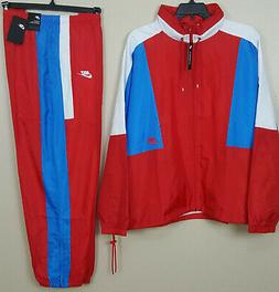 NIKE SPORTSWEAR WOVEN TRACK SUIT JACKET + PANTS RED BLUE WHI