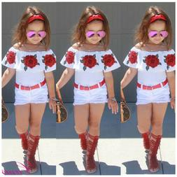 Summer Kids Baby Girls Toddler Outfits Floral Tops + Shorts