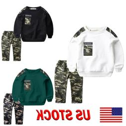 Teen Kids Baby Sets Boys Letter Tracksuit Camouflage Tops+Pa