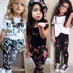 Toddler Kids Baby Girls Outfits Clothes T-Shirt Tops Pants C