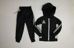 Reebok Tracksuit Meshed Lined Outfit Boys Size 5 Black White