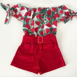 US 2Pcs Toddler Kids Baby Girls Outfits Clothes Off Shoulder