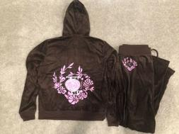 Juicy Couture Velour LARGE Tracksuit Outfit Hoodie Set BROWN