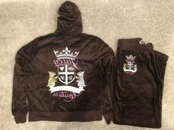 Juicy Couture Velour M MEDIUM Tracksuit Outfit Hoodie Set BR