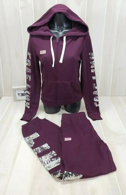 Victoria's Secret PINK Bling Set Small Hoodie Sweatpants Swe