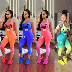 Women 2 Piece Tracksuit Pink Letter Stretchy Loose Tank Tops