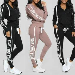 Women 2PCS Tracksuits Striped Sport Lounge Wear Ladies Tops