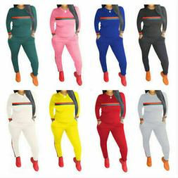Women Outfits Sports Tracksuits Long Sleeve Pants Top 2 Piec