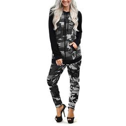 Womens Camouflage Army Print Jogging Suits Ladies Lounge Wea