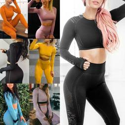 Womens Gym Crop Top 2 piece Tracksuits Yoga Suit Seamless Le